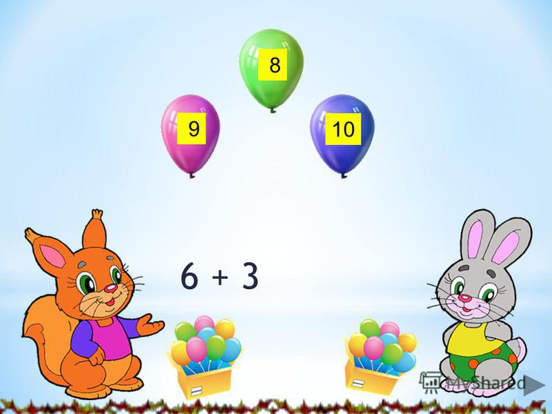 Инструкция Милые друзья! Решите примеры. Жмите на ответ (цифру). Ответы на шариках подскажут, кто надул их. Вы также узнаете, сколько шариков подарили котенку белочка и зайчик на его день рождения. Удачи вам! Вперед