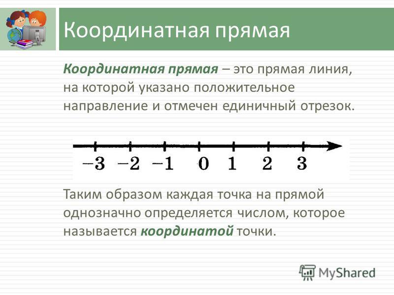 Координатная прямая Координатная прямая – это прямая линия, на которой указано положительное направление и отмечен единичный отрезок. Таким образом каждая точка на прямой однозначно определяется числом, которое называется координатой точки.
