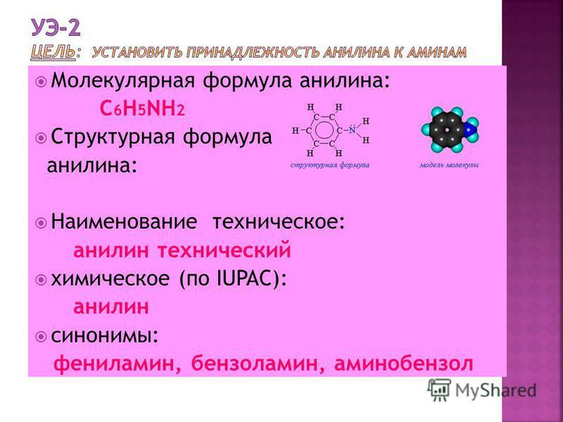 Молекулярная формула анилина: С 6 Н 5 NH 2 Структурная формула анилина: Наименование техническое: анилин технический химическое (по IUPAC): анилин синонимы: фениламин, бензиламин, аминобензол