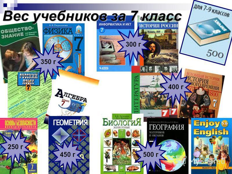 Вес учебников за 4 класс 250 г 300 г 820 г 250 г