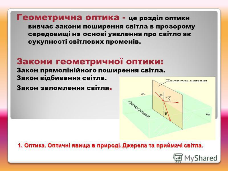 Геометрична оптика - це розділ оптики вивчає закони поширення світла в прозорому середовищі на основі уявлення про світло як сукупності світлових променів. Закони геометричної оптики: Закон прямолінійного поширення світла. Закон відбивання світла. За