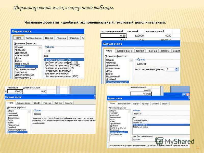 6 Форматирование ячеек электронной таблицы. Числовые форматы - дробный, экспоненциальный, текстовый, дополнительный: