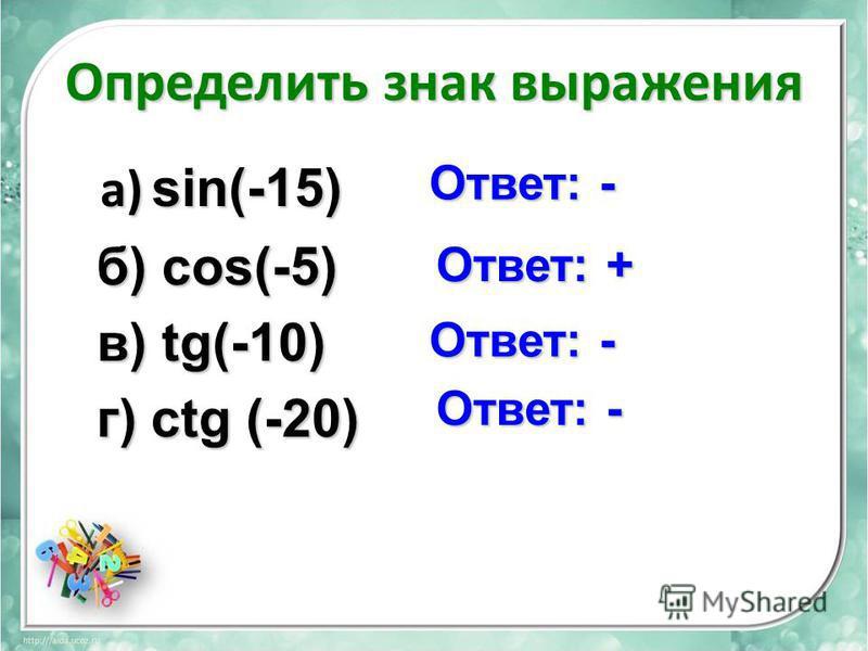 Определить знак выражения а) sin(-15) а) sin(-15) б) cos(-5) б) cos(-5) в) tg(-10) в) tg(-10) г) сtg (-20) г) сtg (-20) Ответ: - Ответ: +