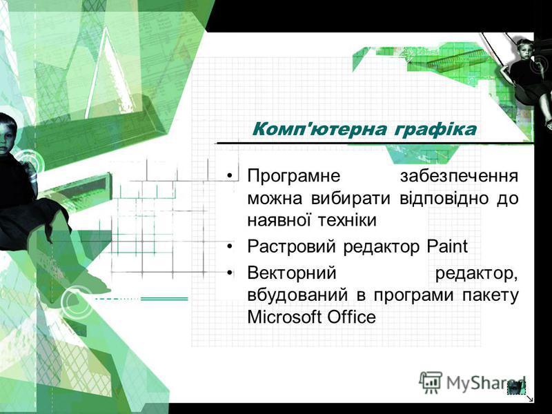 Комп'ютерна графіка Програмне забезпечення можна вибирати відповідно до наявної техніки Растровий редактор Paint Векторний редактор, вбудований в програми пакету Microsoft Office