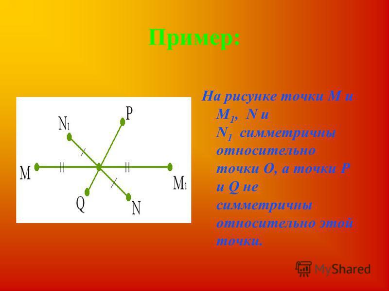 Определение. Две точки А и А 1 называются симметричными относительно точки О, если О - середина отрезка АА 1. Точка О считается симметричной самой себе.