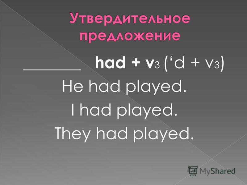 _______ had + v 3 (d + v 3 ) He had played. I had played. They had played.