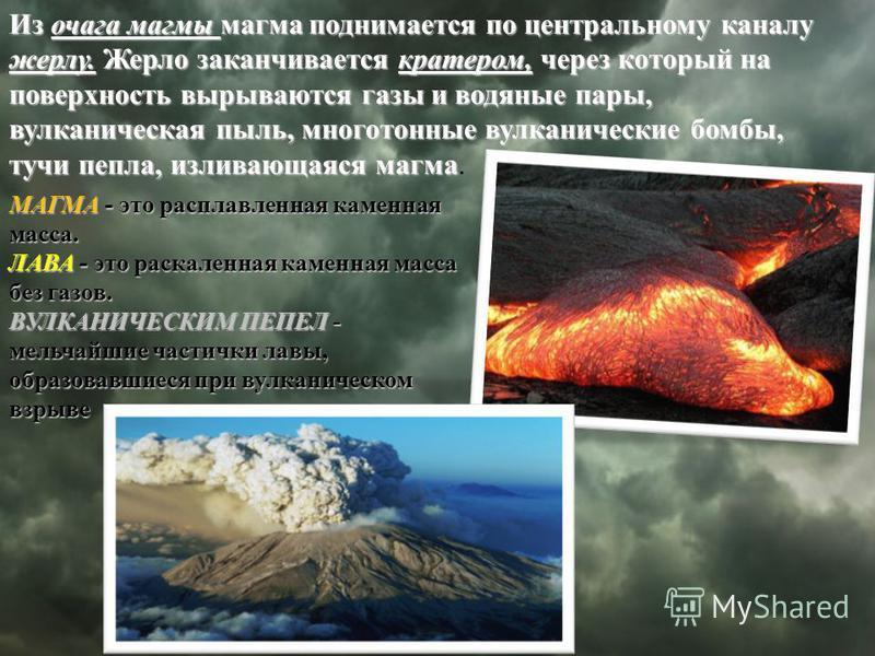 Из очага магмы магма поднимается по центральному каналу жерлу. Жерло заканчивается кратером, через который на поверхность вырываются газы и водяные пары, вулканическая пыль, многотонные вулканические бомбы, тучи пепла, изливающаяся магма Из очага маг