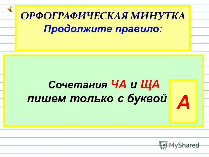 ОРФОГРАФИЧЕСКАЯ МИНУТКА Продолжите правило: Сочетания ЧА и ЩА пишем только с буквой … А