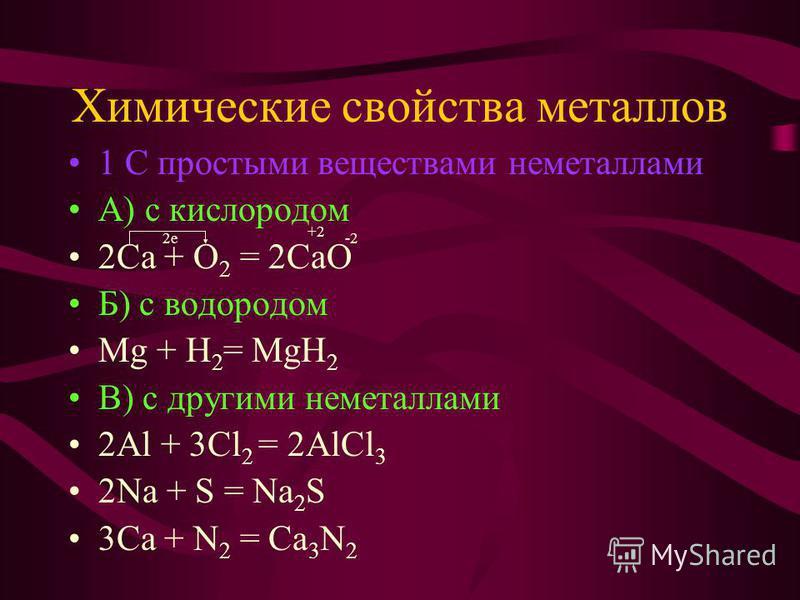 Химические свойства металлов 1 С простыми веществами неметаллами А) с кислородом 2Са + O 2 = 2СаО Б) с водородом Mg + H 2 = MgH 2 В) с другими неметаллами 2Al + 3Cl 2 = 2AlCl 3 2Na + S = Na 2 S 3Ca + N 2 = Ca 3 N 2 2 е +2 -2