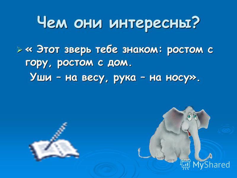 « Этот зверь тебе знаком: ростом с гору, ростом с дом. Уши – на весу, рука – на носу».