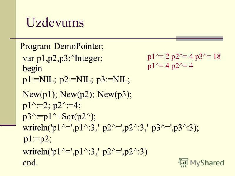 Uzdevums Program DemoPointer; p1^= 2 p2^= 4 p3^= 18 p1^= 4 p2^= 4 var p1,p2,p3:^Integer; begin p1:=NIL; p2:=NIL; p3:=NIL; New(p1); New(p2); New(p3); p1^:=2; p2^:=4; p3^:=p1^+Sqr(p2^); writeln('p1^=',p1^:3,' p2^=',p2^:3,' p3^=',p3^:3); p1:=p2; writeln