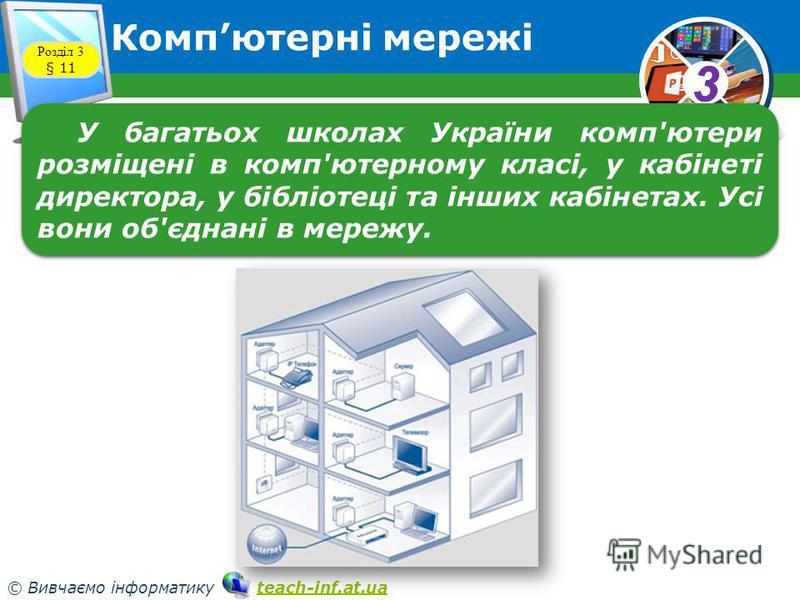 33 © Вивчаємо інформатику teach-inf.at.uateach-inf.at.ua Компютерні мережі Розділ 3 § 11 У багатьох школах України комп'ютери розміщені в комп'ютерному класі, у кабінеті директора, у бібліотеці та інших кабінетах. Усі вони об'єднані в мережу.