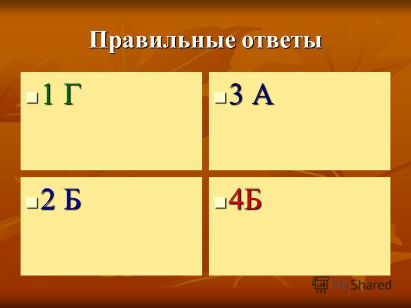 Правильные ответы 1 Г 1 Г 3 А 3 А 2 Б 2 Б 4Б 4Б