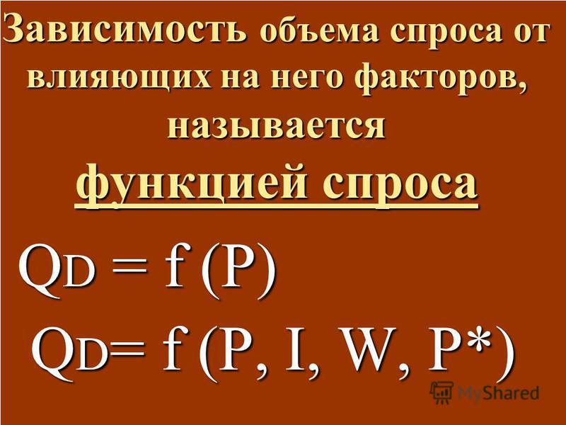 Зависимость объема спроса от влияющих на него факторов, называется функцией спроса Q D = f (P) Q D = f (P) Q D = f (P, I, W, P*) Q D = f (P, I, W, P*)