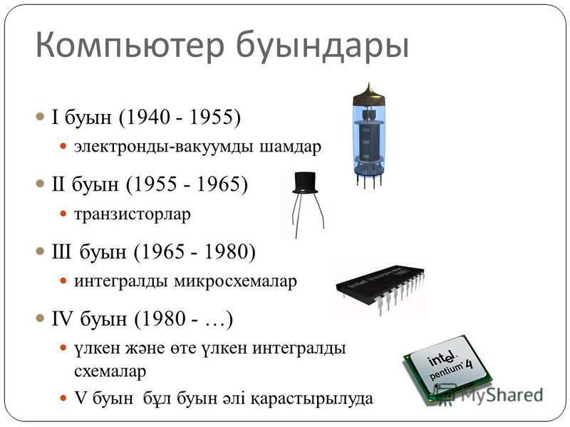 Компьютер буындары I буын (1940 - 1955) электронды-вакуумды шамдар II буын (1955 - 1965) транзисторлар III буын (1965 - 1980) интегралды микросхемалар IV буын (1980 - …) үлкен және өте үлкен интегралды схемалар V буын бұл буын әлі қарастырылуда