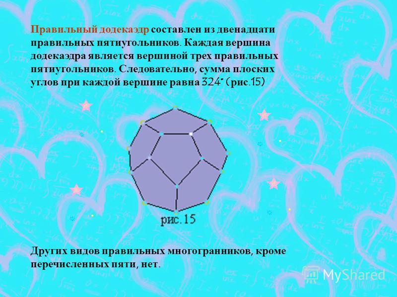 Правильный додекаэдр составлен из двенадцати правильных пятиугольников. Каждая вершина додекаэдра является вершиной трех правильных пятиугольников. Следовательно, сумма плоских углов при каждой вершине равна 324° (рис.15) Других видов правильных мног