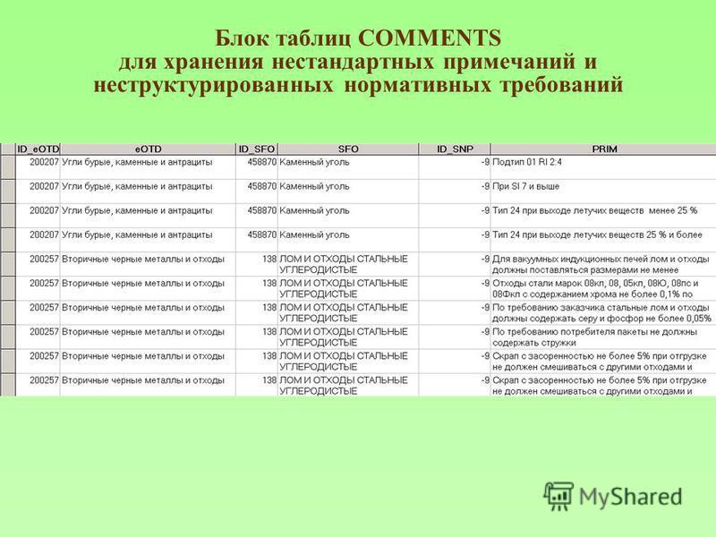 Блок таблиц COMMENTS для хранения нестандартных примечаний и неструктурированных нормативных требований