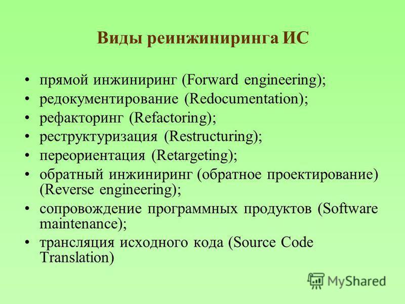 Виды реинжиниринга ИС прямой инжиниринг (Forward engineering); редокументирование (Redocumentation); рефакторинг (Refactoring); реструктуризация (Restructuring); переориентация (Retargeting); обратный инжиниринг (обратное проектирование) (Reverse eng