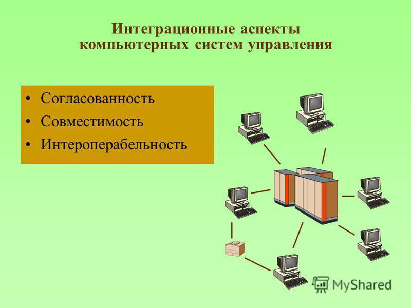 Интеграционные аспекты компьютерных систем управления Согласованность Совместимость Интероперабельность