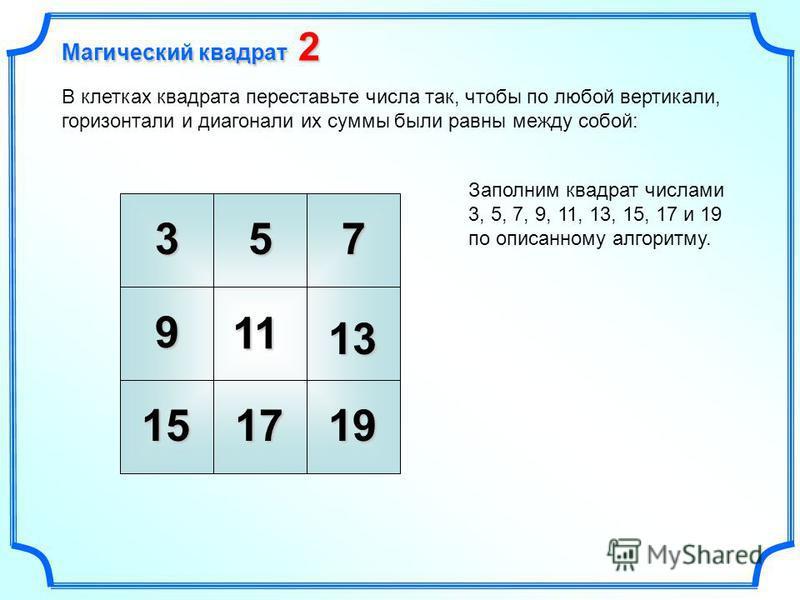 3 11 7 В клетках квадрата переставьте числа так, чтобы по любой вертикали, горизонтали и диагонали их суммы были равны между собой: Заполним квадрат числами 3, 5, 7, 9, 11, 13, 15, 17 и 19 по описанному алгоритму. 5 9 13 171915 Магический квадрат 2