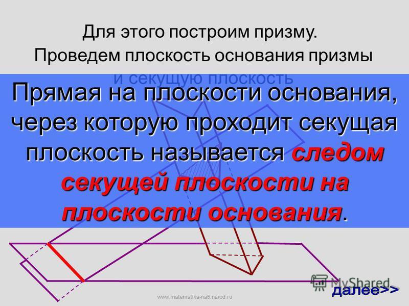 Для этого построим призму. Проведем плоскость основания призмы и секущую плоскость www.matematika-na5.narod.ru