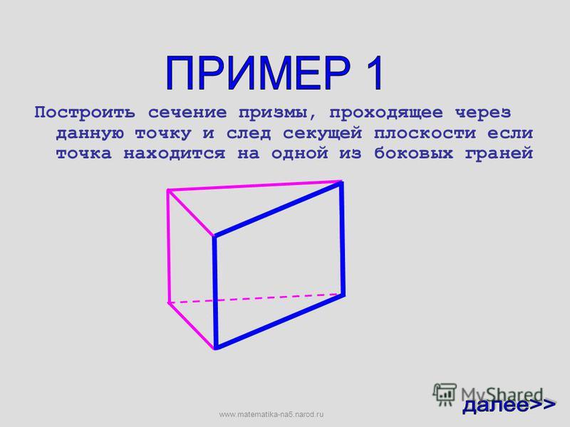 Построим сечение призмы через данную точку и след секущей плоскости www.matematika-na5.narod.ru
