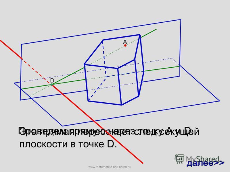 А Для этого построим прямую, по которой плоскость данной грани пересекает плоскость основания D Эта прямая пересекает след секущей плоскости в точке D. www.matematika-na5.narod.ru