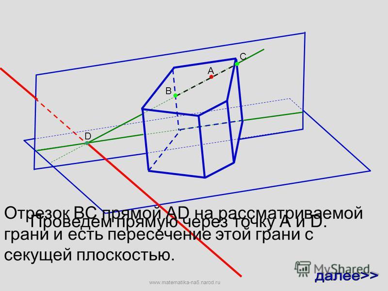 А Эта прямая пересекает след секущей плоскости в точке D. D Проведем прямую через точку А и D. www.matematika-na5.narod.ru