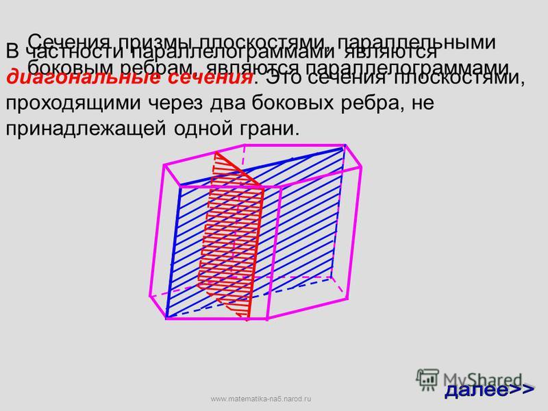 Секущая плоскость пересекает грани призмы по отрезкам Назовем секущей плоскостью призмы любую плоскость, по обе стороны от которой имеются точки данной призмы Уточним, что понимается под сечением призмы. Многоугольник, сторонами которого являются эти
