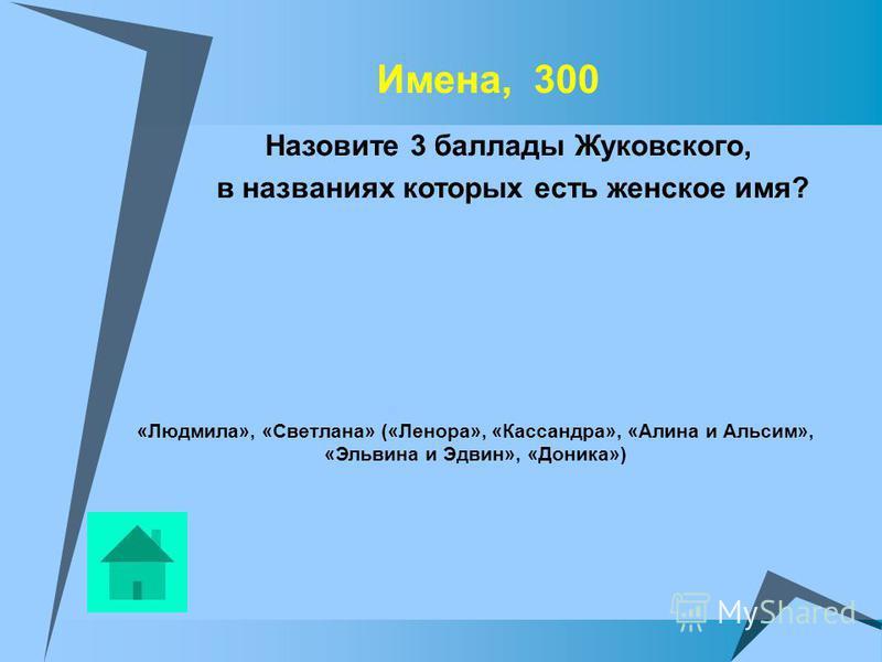 Имена, 300 Назовите 3 баллады Жуковского, в названиях которых есть женское имя? «Людмила», «Светлана» («Ленора», «Кассандра», «Алина и Альсим», «Эльвина и Эдвин», «Доника»)