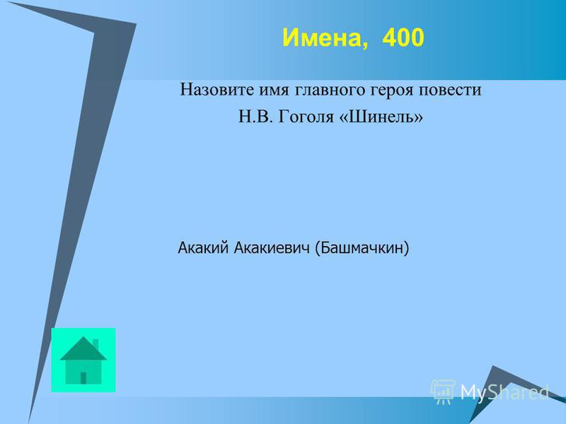 Имена, 400 Назовите имя главного героя повести Н.В. Гоголя «Шинель» Акакий Акакиевич (Башмачкин)