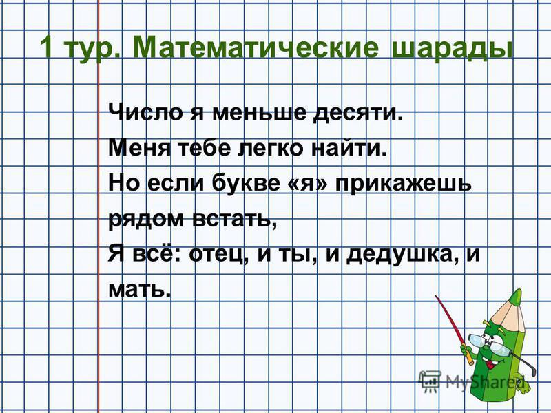 1 тур. Математические шарады Число я меньше десяти. Меня тебе легко найти. Но если букве «я» прикажешь рядом встать, Я всё: отец, и ты, и дедушка, и мать.