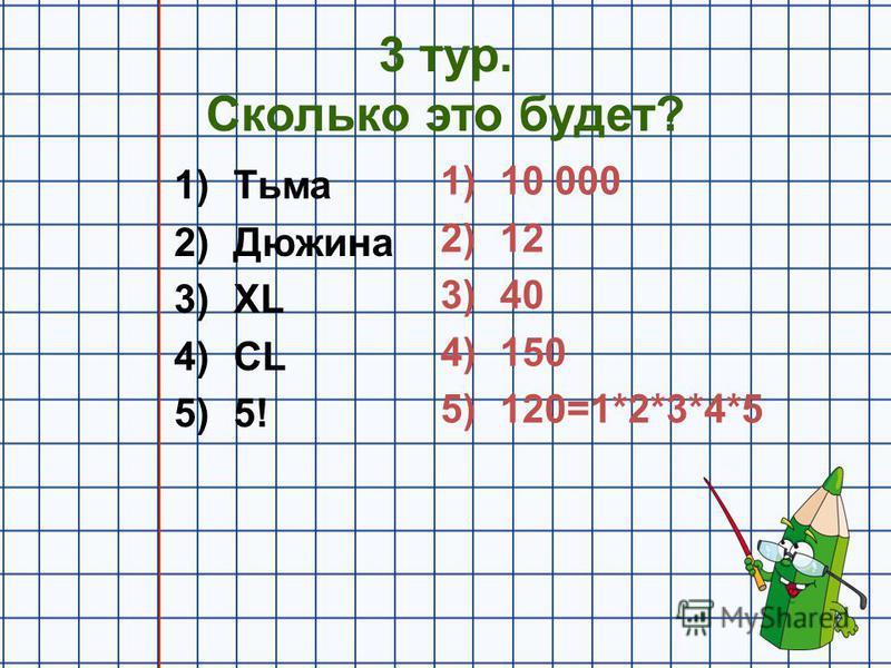 3 тур. Сколько это будет? 1)Тьма 2)Дюжина 3)XL 4)CL 5)5! 1)10 000 2)12 3)40 4)150 5)120=1*2*3*4*5