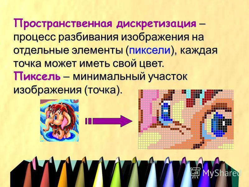 – процесс разбивания изображения на отдельные элементы (пиксели), каждая точка может иметь свой цвет. Пространственная дискретизация – процесс разбивания изображения на отдельные элементы (пиксели), каждая точка может иметь свой цвет. Пиксель – миним