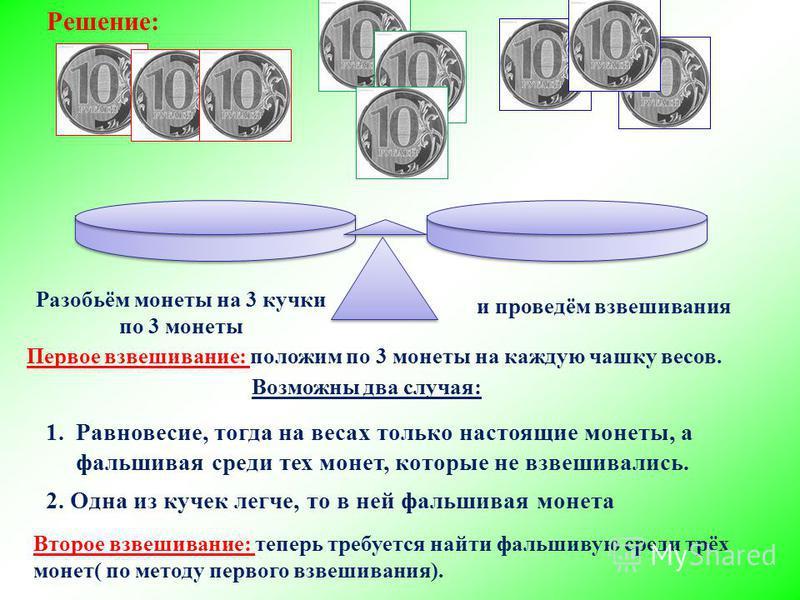 Решение: 2. Одна из кучек легче, то в ней фальшивая монета Разобьём монеты на 3 кучки по 3 монеты 1.Равновесие, тогда на весах только настоящие монеты, а фальшивая среди тех монет, которые не взвешивались. Второе взвешивание: теперь требуется найти ф