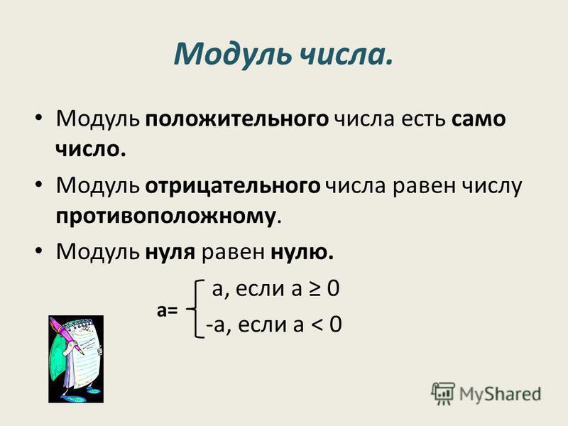 Модуль числа. Модуль положительного числа есть само число. Модуль отрицательного числа равен числу противоположному. Модуль нуля равен нулю. а, если а 0 -а, если а < 0 а=