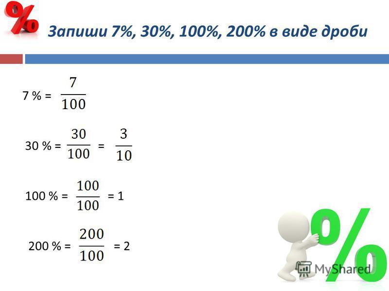 Запиши 7%, 30%, 100%, 200% в виде дроби 7 % = 30 % = = 100 % = = 1 200 % = = 2