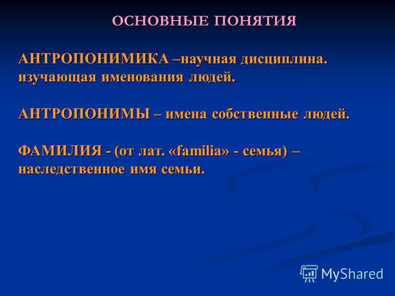 ОСНОВНЫЕ ПОНЯТИЯ АНТРОПОНИМИКА –научная дисциплина. изучающая именования людей. АНТРОПОНИМЫ – имена собственные людей. ФАМИЛИЯ - (от лат. «familia» - семья) – наследственное имя семьи.