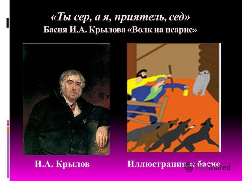 «Ты сер, а я, приятель, сед» Басня И.А. Крылова «Волк на псарне» И.А. Крылов Иллюстрация к басне