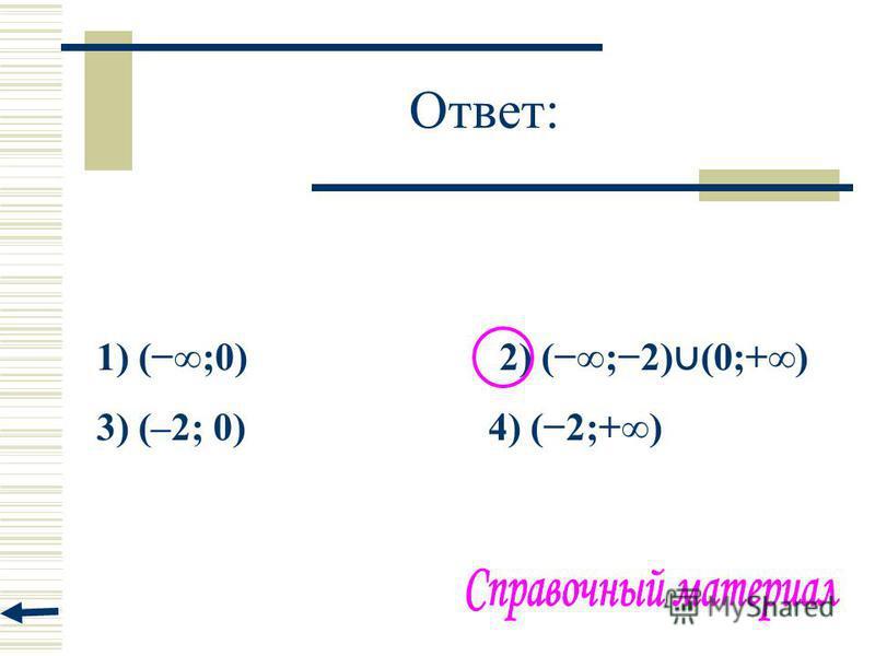 Ответ: 1) (;0) 2) (;2) (0;+) 3) (–2; 0) 4) (2;+)