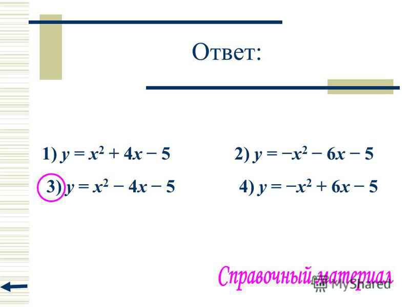 Ответ: 1) y = x 2 + 4x 5 2) y = x 2 6x 5 3) y = x 2 4x 5 4) y = x 2 + 6x 5