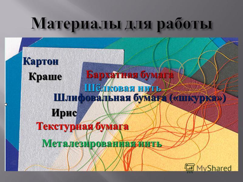 Картон Бархатная бумага Шлифовальная бумага («шкурка») Текстурная бумага Краше Шёлковая нить Ирис Металезированная нить