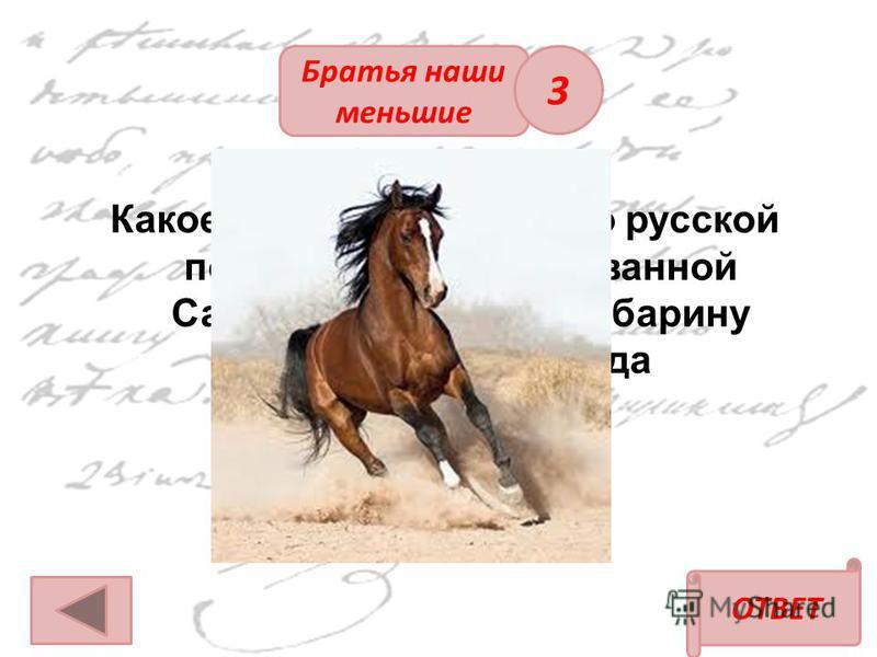 ОТВЕТ Братья наши меньшие Какое животное, согласно русской пословице, использованной Савельичем в письме барину о четырёх ногах, да спотыкается? 3