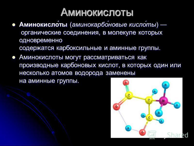 Аминокислоты Аминокисло́ты (аминокарбо́новые кисло́ты) органические соединения, в молекуле которых одновременно содержатся карбоксильные и аминные группы. Аминокисло́ты (аминокарбо́новые кисло́ты) органические соединения, в молекуле которых одновреме