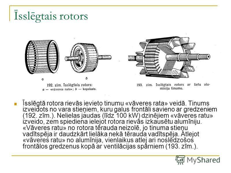Īsslēgtais rotors Īsslēgtā rotora rievās ievieto tinumu «vāveres rata» veidā. Tinums izveidots no vara stieņiem, kuru galus frontāli savieno ar gredzeniem (192. zīm.). Nelielas jaudas (līdz 100 kW) dzinējiem «vāveres ratu» izveido, zem spiediena iele