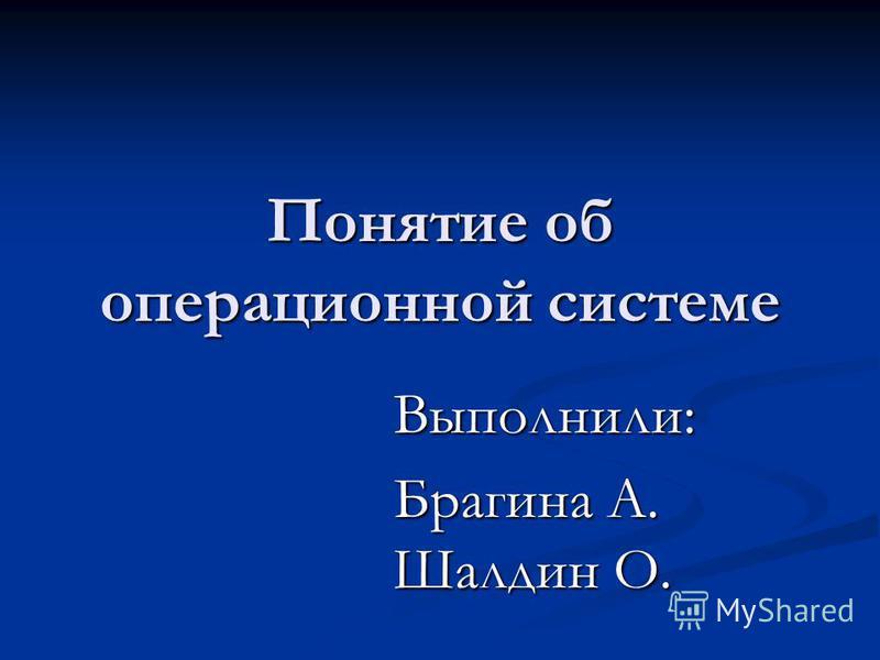 Понятие об операционной системе Выполнили: Брагина А. Шалдин О.