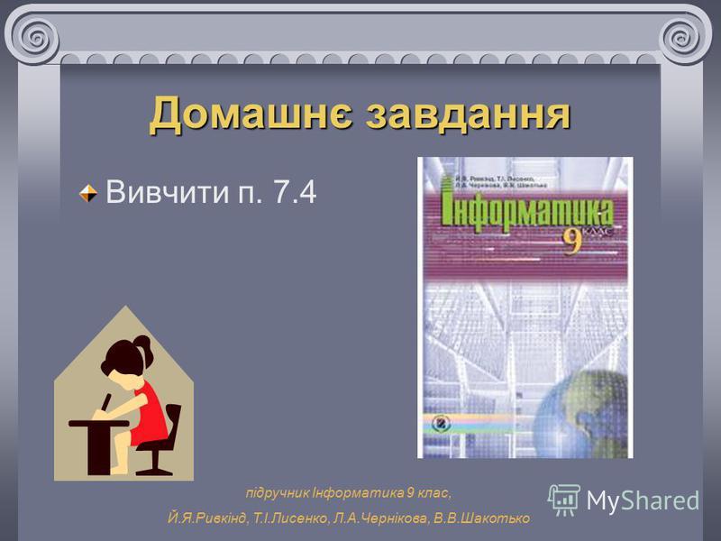 Домашнє завдання Вивчити п. 7.4 підручник Інформатика 9 клас, Й.Я.Ривкінд, Т.І.Лисенко, Л.А.Чернікова, В.В.Шакотько