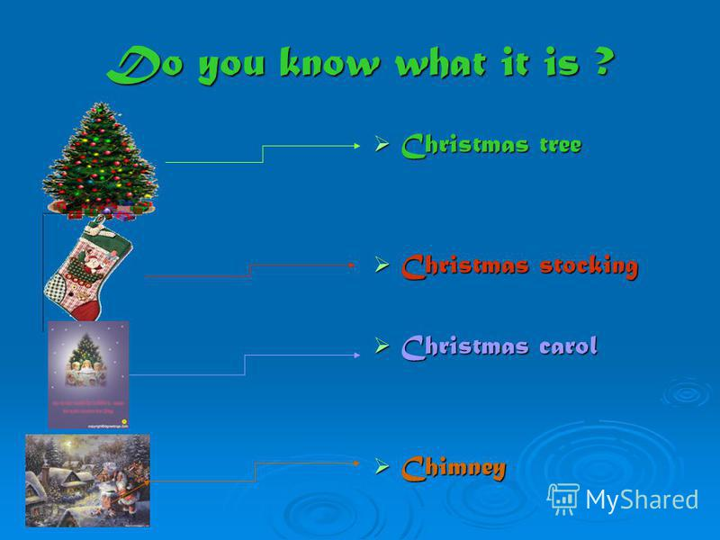 Do you know what it is ? Christmas tree Christmas tree Christmas stocking Christmas stocking Christmas carol Christmas carol Chimney Chimney
