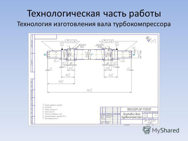 Технологическая часть работы Технология изготовления вала турбокомпрессора