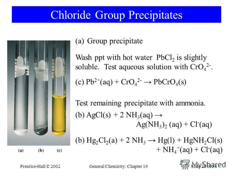 Prentice-Hall © 2002General Chemistry: Chapter 19Slide 28 of 34 Chloride Group Precipitates (a)Group precipitate Wash ppt with hot water PbCl 2 is slightly soluble. Test aqueous solution with CrO 4 2-. (c) Pb 2+ (aq) + CrO 4 2- PbCrO 4 (s) Test remai